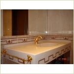 """Мебель из камня - столешница с монолитной мойкой для ванной комнаты из искусственного """"жидкого"""" камня"""